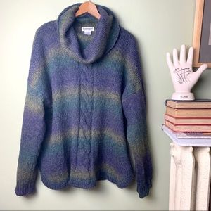 Serengeti cable knit cowl neck fuzzy sweater 1X